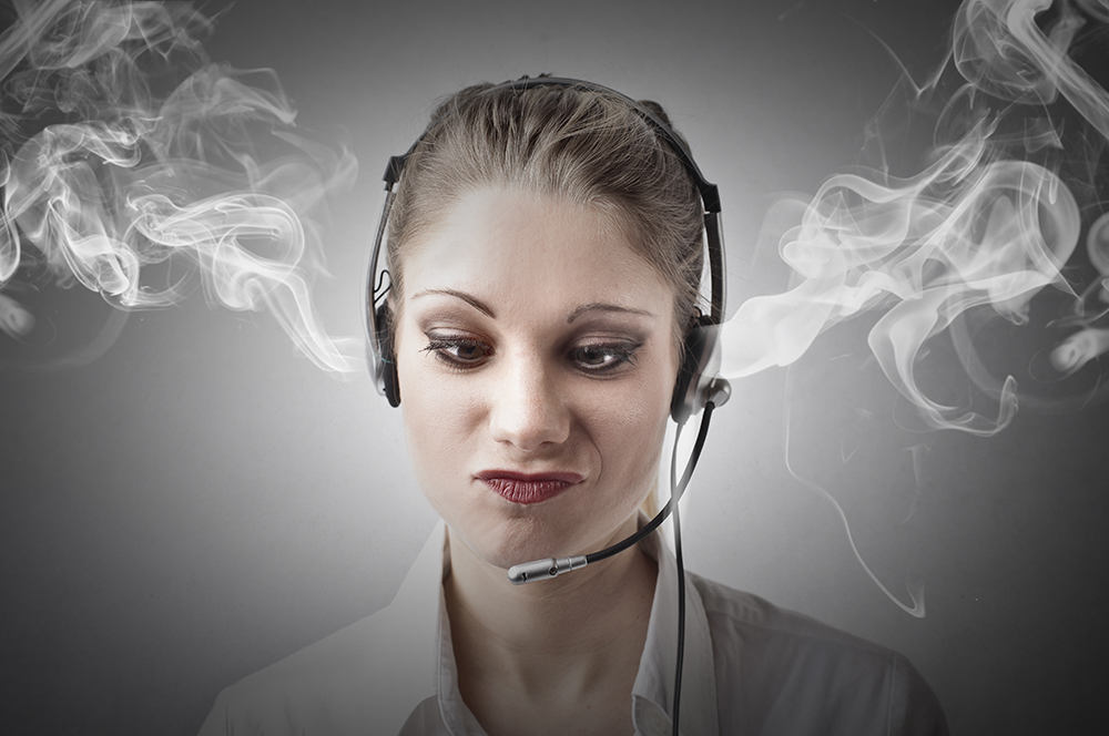 Woman with headset and smoke in ears